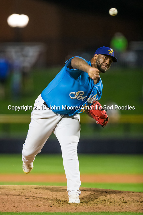 Amarillo Sod Poodles pitcher Jordan Gerrero (40) pitches against the Tulsa Drillers during the Texas League Championship on Wednesday, Sept. 11, 2019, at HODGETOWN in Amarillo, Texas. [Photo by John Moore/Amarillo Sod Poodles]