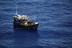INDIAN OCEAN 24MAR13 - An unidentified Sri Lankan fishing vessel (IMUL-A-0208 CHW) drifts in the Chagos EEZ in the Indian Ocean.<br /> <br /> <br /> <br /> The Greenpeace ship Esperanza is on patrol in the Indian ocean documenting illegal fishing vessels.<br /> <br /> <br /> <br /> jre/Photo by Jiri Rezac / Greenpeace