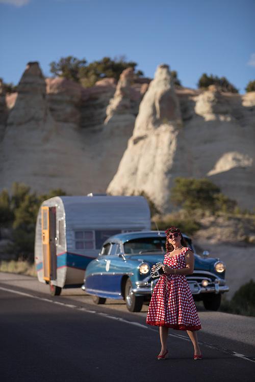 Lisa Mora stops her 1952 Hudson Hornet and trailer along Route 66 outside Gallup New Mexico. (Photo by Steven St. John)