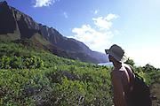 Hiker, Kalalau Valley, Napali Coast, Kauai, Hawaii, USA<br />