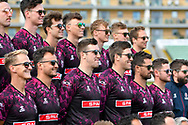 The Somerset players including Craig and Jamie Overton pose for a team photo wearing sunglasses in the Vitality Blast kit during the 2019 media day at Somerset County Cricket Club at the Cooper Associates County Ground, Taunton, United Kingdom on 2 April 2019.