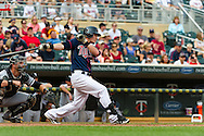 Making his MLB debut, Chris Herrmann #23 of the Minnesota Twins grounds out in his very first MLB at-bat during a game against the Chicago White Sox on September 16, 2012 at Target Field in Minneapolis, Minnesota.  The White Sox defeated the Twins 9 to 2.  Photo: Ben Krause