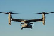 USA, Oregon, Hillsboro, Bell-Boeing MV-22 of the USMC during its demonstration at Oregon International Airshow.