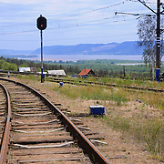 "Railroad in Russian National Park ""Samarskaya Luka"" near Volga river and Zhiguli mountains"
