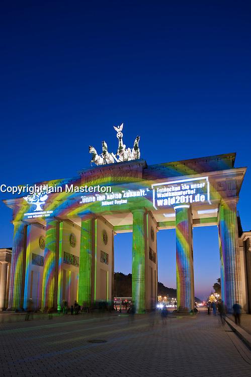Brandenburg Gate illuminated during Festival of Lights in Berlin Germany