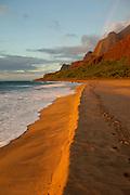 Sunset, Rainbow, Kalalau Beach, Napali Coast, Kauai, Hawaii