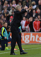 Arsene Wenger, manager of Arsenal walks out onto the pitch. Premier league match, Stoke City v Arsenal at the Bet365 Stadium in Stoke on Trent, Staffs on Saturday 13th May 2017.<br /> pic by Bradley Collyer, Andrew Orchard sports photography.