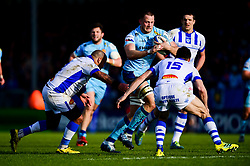 Jonny Hill of Exeter Chiefs is tackled by Geoffrey Palis of Castres Olympique - Mandatory by-line: Ryan Hiscott/JMP - 13/01/2019 - RUGBY - Sandy Park Stadium - Exeter, England - Exeter Chiefs v Castres - Heineken Champions Cup
