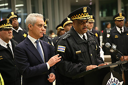 November 19, 2018 - Chicago, IL, USA - Chicago Mayor Rahm Emanuel, left, comforts Police Superintendent Eddie Johnson Monday, Nov. 19, 2018 during a news conference at the University of Chicago Medical Center after a Chicago police officer was shot and killed, as well as two other victims and the gunman, at a South Side hospital earlier Monday afternoon. (Credit Image: © Chris Walker/Chicago Tribune/TNS via ZUMA Wire)
