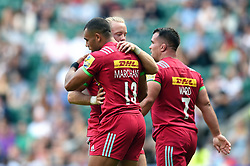 Joe Marchant of Harlequins celebrates his first half try with team-mates - Mandatory byline: Patrick Khachfe/JMP - 07966 386802 - 02/09/2017 - RUGBY UNION - Twickenham Stadium - London, England - London Irish v Harlequins - Aviva Premiership