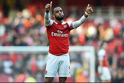 February 24, 2019 - London, England, United Kingdom - Arsenal forward Alexandre Lacazette gives a thumbs up to the fans during the Premier League match between Arsenal and Southampton at the Emirates Stadium, London on Sunday 24th February 2019. (Credit Image: © Mi News/NurPhoto via ZUMA Press)