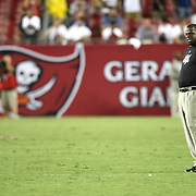 Tampa Bay head coach Raheem Morris grimaces during an NFL football game between the New England Patriots and the Tampa Bay Buccaneers at Raymond James Stadium on Thursday, August 18, 2011 in Tampa, Florida.   (Photo/Alex Menendez)