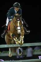 Simon Delestre on Chesall Zimequest competes during Hong Kong Jockey Club Trophy at the Longines Masters of Hong Kong on 19 February 2016 at the Asia World Expo in Hong Kong, China. Photo by Juan Manuel Serrano / Power Sport Images