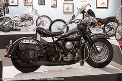 Matt McManus' 1942 H-D Knucklehead in the Old Iron - Young Blood exhibition in the Motorcycles as Art gallery at the Buffalo Chip during the annual Sturgis Black Hills Motorcycle Rally. Sturgis, SD, USA. Wednesday August 9, 2017. Photography ©2017 Michael Lichter.