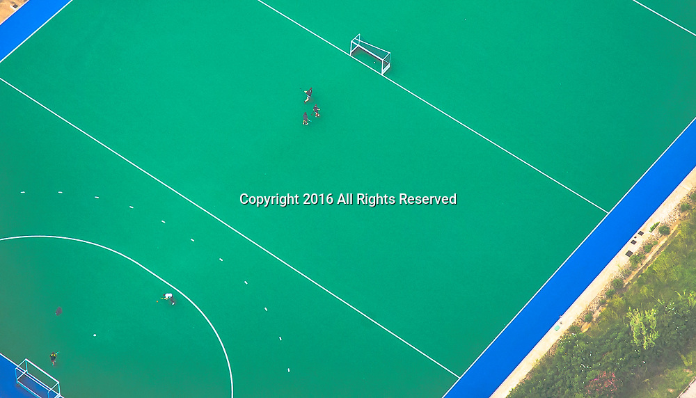 Aerial views of Pau Negre Futbol Field Barcelona Spain