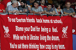 banner of Liverpool FC fans about Everton during the UEFA Champions League final between Real Madrid and Liverpool on May 26, 2018 at NSC Olimpiyskiy Stadium in Kyiv, Ukraine