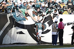 Philadelphia Eagles wide receiver Jeremy Maclin (18) is congratulated by fans after scoring a touchdown during the NFL game between the Detroit Lions and the Philadelphia Eagles on Sunday, October 14th 2012 in Philadelphia. The Lions won 26-23 in Overtime. (Photo by Brian Garfinkel)