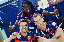 Carlos Moreno of ACH, Mory Sidibe of ACH and Daniel Lewis of ACH celebrate after winning the volleyball match between Calcit Volleyball and ACH Volley in 4th Final Round of Radenska Classic League 2012/13 on April 16, 2013 in Arena Kamnik, Slovenia. ACH Volley defeated Calcit Kamnik in games 3-1 and became Slovenian National Champion 2013.(Photo By Vid Ponikvar / Sportida)