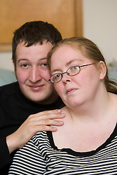Sally Wright, who only has weeks to live is to marry her partner Adam Gray this coming Saturday. Pic at home at at 22 Primrosebank, Galashiels..Pic ©2010 Michael Schofield. All Rights Reserved.
