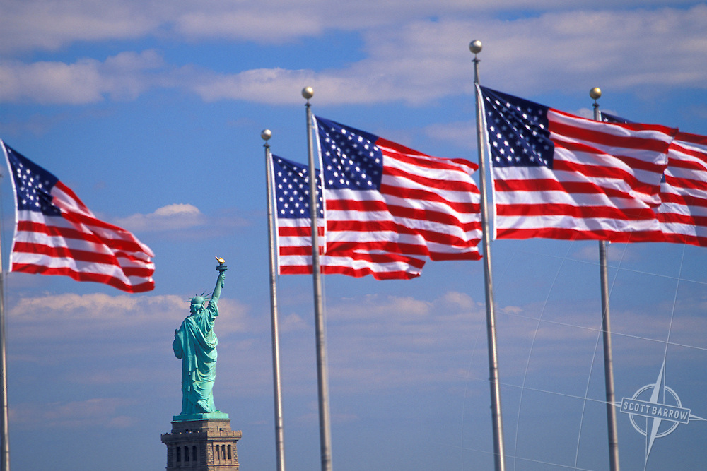 Statue of Liberty with American Flags, Liberty State Park
