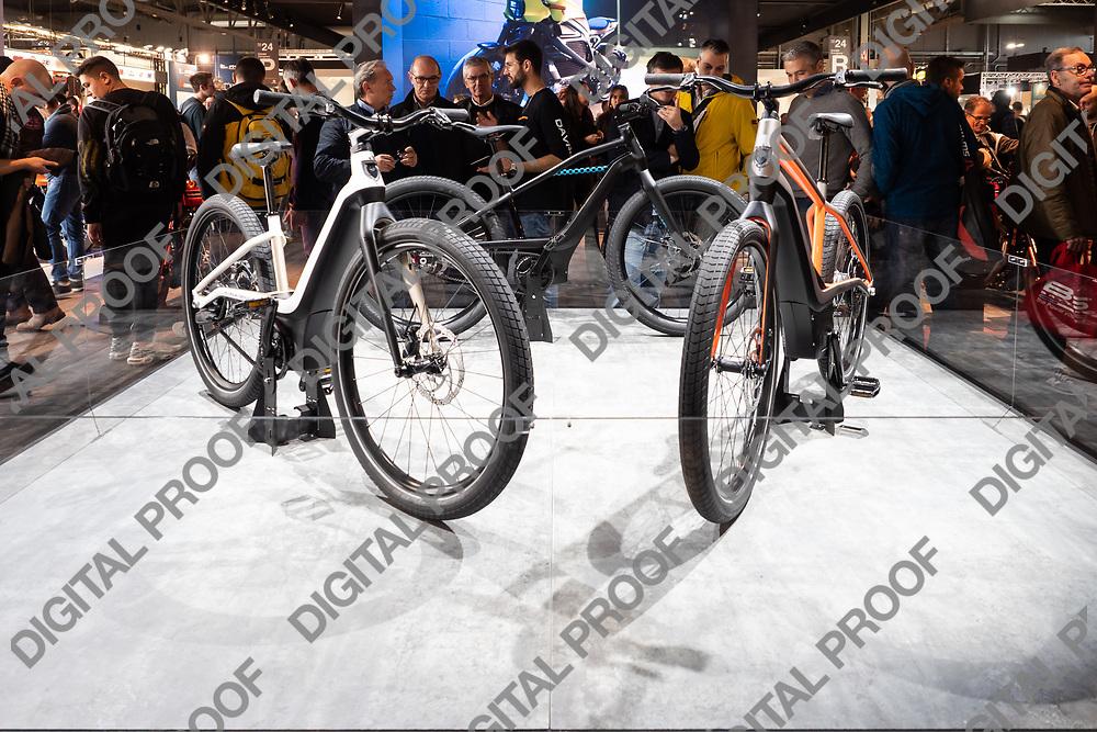 RHO Fieramilano, Milan Italy - November 07, 2019 EICMA Expo. Harley Davidson bikes styling prototype in exhibit at EICMA 2019