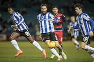 Atdhe Nuhiu (Sheffield Wednesday) passes the ball out wide during the Sky Bet Championship match between Sheffield Wednesday and Queens Park Rangers at Hillsborough, Sheffield, England on 23 February 2016. Photo by Mark P Doherty.