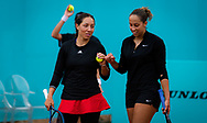 Madison Keys and Jessica Pegula of the United States playing doubles at the Mutua Madrid Open 2021, Masters 1000 tennis tournament on May 3, 2021 at La Caja Magica in Madrid, Spain - Photo Rob Prange / Spain ProSportsImages / DPPI / ProSportsImages / DPPI