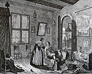 View of the living room of Grotius (Hugo the Great) on the lock Loeve Steys, where he spent two years as a prisoner.  Then he escaped with the help of his wife Maria van Reigersbergh and faithful servant in a trunk, March 22, 1621.