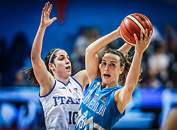 Francesca Dotto of Italy vs Teja Oblak of Slovenia during basketball match between Women National teams of Italy and Slovenia in Group phase of Women's Eurobasket 2019, on June 30, 2019 in Sports Center Cair, Nis, Serbia. Photo by Vid Ponikvar / Sportida