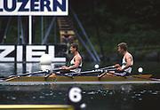 Lucerne, SWITZERLAND. [RDA] DDR M2X, Bow, Uwe  <br /> MUNDand Uwe<br /> HEPPNER, 1988 .Lucerne International Regatta, Lake Rotsee. June 1988 [Mandatory Credit - Peter Spurrier/Intersport Images] 1988 Lucerne International Regatta