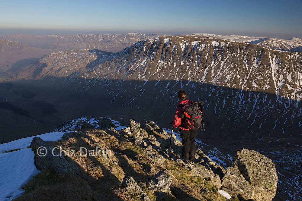 Looking across to St Sunday Crag and Fairfield from the rockier upper slopes of Nethermost Pike East Ridge