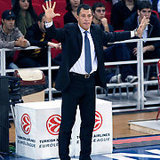 Anadolu Efes's coach Ufuk SARICA during their Turkish Airlines Euroleague Basketball Group C Game 2 match Anadolu Efes between Belgacom Spirou  at Abdi Ipekci Arena in Istanbul, Turkey, Wednesday, October 26, 2011. Photo by TURKPIX