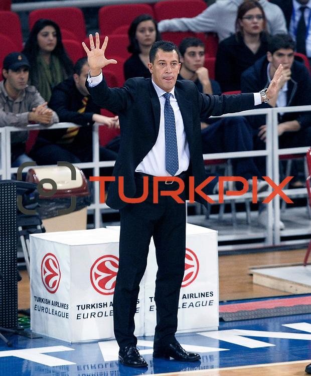 Anadolu Efes's coach Ufuk SARICA during their Turkish Airlines Euroleague Basketball Group C Game 2 match Anadolu Efes between Belgacom Spirou  at Abdi Ipekci Arena in Istanbul, Turkey, Wednesday, October 26, 2011. Photo by TURKPIX