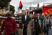 Cable Street 80 march and rally through Whitechapel to mark the 80th anniversary of the Battle of Cable Street on 9th October 2016 in London, United Kingdom. The demonstration marks the day when tens of thousands of people across the East End, joined by others who came to support them, prevented Oswald Mosley's British Union of Fascists invading the Jewish areas of the East End. The day, which is recognised as a major turning point in the struggle against fascism in Britain in the 1930s.