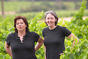Chantal Lecouty , left, and Karen Turner Prieure de St Jean de Bebian. Pezenas region. Languedoc. Owner winemaker. France. Europe. Vineyard.
