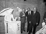 24/08/1984<br /> 08/24/1984<br /> 24 August 1984<br /> Opening of ROSC '84 at the Guinness Store House, Dublin. Mr Pat Murphy gives a description of one of the art exhibits to   Lord Iveagh and President Patrick Hillery.