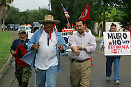 Brownsville Mayor Eddie Trevino, a vocal opponent of the border wall, joins Jay Johnson Castro on the final mile of his walk.