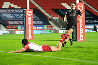 Rugby League - 2020 Betfair Super League - Semi-final - St Helens vs Catalan Dragons - TW Stadium<br /> <br /> St. Helens's Jonny Lomax breaks through to run on to score a try<br /> <br /> COLORSPORT/TERRY DONNELLY