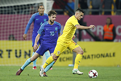 (L-R) Davy Propper of Holland, Ovidiu Hoban of Romania during the friendly match between Romania and The Netherlands on November 14, 2017 at Arena National in Bucharest, Romania