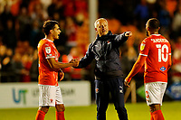 Football - 2021 / 2022 EFL Carabao Cup - Round One: Blackpool vs. Middlesbrough<br /> <br /> Blackpool manager Neil Critchley celebrates with Reece James at the final whistle after his team ran out 3-0 winners, at Bloomfield Road.<br /> <br /> COLORSPORT/ALAN MARTIN