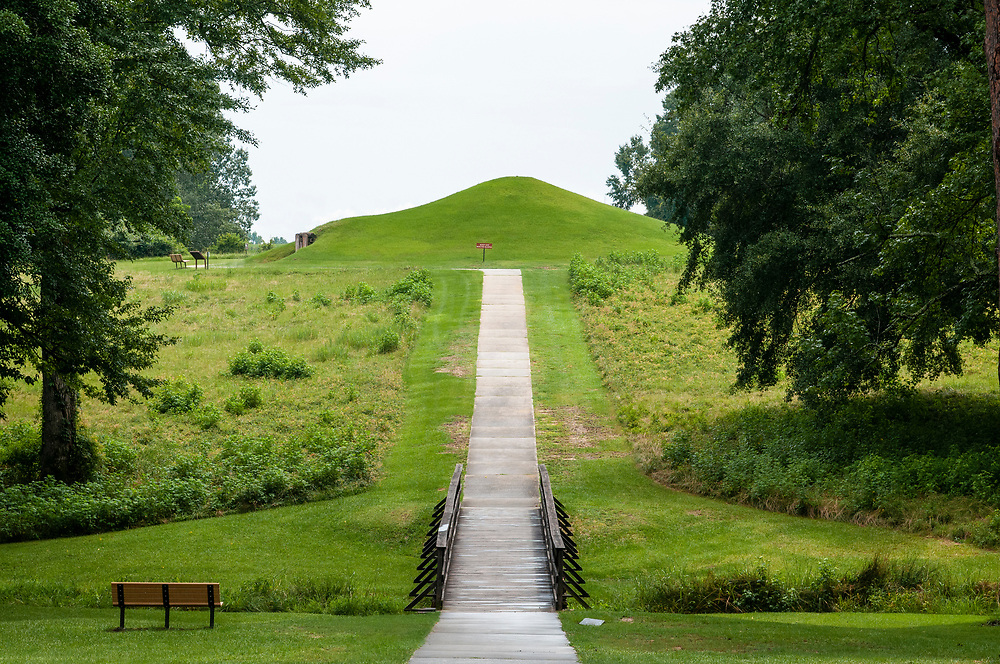The Earth Lodge mound at Ocmulgee Mounds National Historical Park in Macon, Georgia on Monday, July 19, 2021. Copyright 2021 Jason Barnette