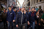 Simone Di Stefano Casapound, in marcia verso Piazza del Popolo per il comizio della Lega Nord, Roma 28 febbraio 2015.  Christian Mantuano / OneShot <br /> <br /> Simone Di Stefano Casapound, marching to Piazza del Popolo for the Northern League meeting in Rome February 28, 2015. Christian Mantuano / OneShot