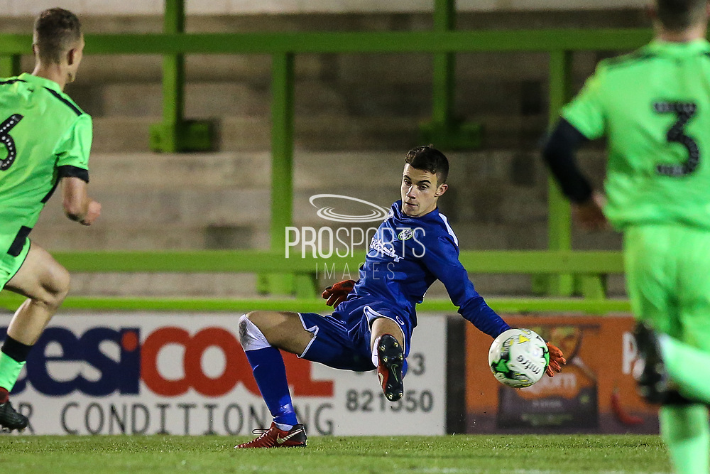 Forest Green Rovers goalkeeper Harrison Yates(13) saves during the FA Youth Cup match between U18 Forest Green Rovers and U18 Cheltenham Town at the New Lawn, Forest Green, United Kingdom on 29 October 2018.