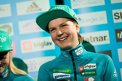 Ema Klinec during press conference of Slovenian Men and Woman national Ski Jumping team, on November 28, 2017 in Pivovarna Union, Ljubljana, Slovenia. Photo by Ziga Zupan / Sportida