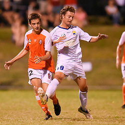 BRISBANE, AUSTRALIA - FEBRUARY 10: Emlyn Wellsmore of the Roar and Fraser Eller of United in action during the NPL Queensland Senior Mens Round 2 match between Gold Coast United and Brisbane Roar Youth at Station Reserve on February 10, 2018 in Brisbane, Australia. (Photo by Football Click / Patrick Kearney)