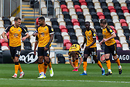 GOAL 1-0 Newport County's Saikou Janneh (20) celebrates scoring the opening goal with his team mates during the EFL Sky Bet League 2 match between Newport County and Tranmere Rovers at Rodney Parade, Newport, Wales on 17 October 2020.