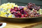 Fruit salad with Red and Yellow Pitayas and grapes