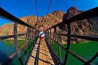 Kaibab Suspension Bridge, Whitewater rafting trip (oar trip) on the Colorado River in Grand Canyon, Grand Canyon National Park, Arizona USA
