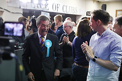 Brexit Party leader Nigel Farage arrives to a rally at Featherstone Working Man's Club, while on the European Election in Pontefract, West Yorkshire. Picture dated: Monday May 13, 2019. Photo credit should read: Isabel Infantes / EMPICS Entertainment.