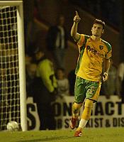 Photo: Aidan Ellis.<br /> Rochdale v Norwich City. Carling Cup. 28/08/2007.<br /> Norwich's Chris Martin salutes his penalty strike